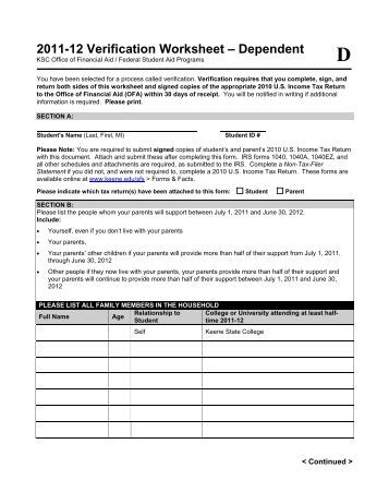 Printables Fafsa Independent Verification Worksheet verification worksheet for independent students financial aid 2011 12 dependent keene state college