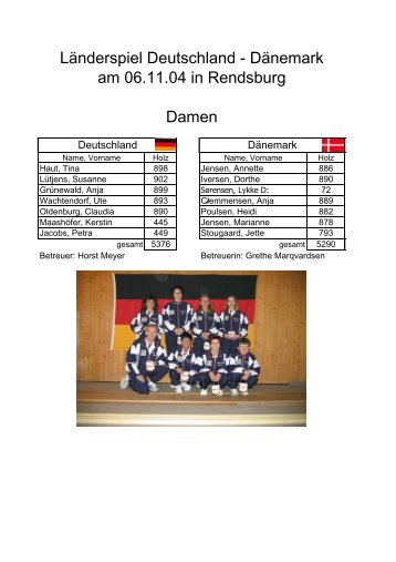 am 06.11.04 in Rendsburg Länderspiel Deutschland - Dänemark ...