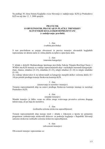 Pravilnik o obveznostih, pravicah in plačilu trenerjev - Kegljaška ...
