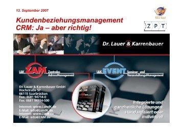 Die Revolution in der Adresspflege sowie weitere ... - KEG Saar