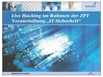 """Live Hacking im Rahmen der ZPT Veranstaltung """"IT ... - KEG Saar"""