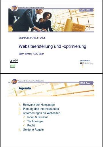 Planung des Internetauftritts - KEG Saar