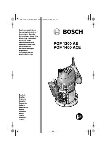 POF 1200 AE POF 1400 ACE - Schwab
