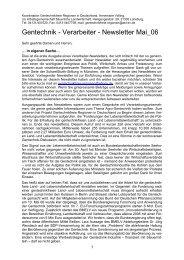 Gentechnik - Verarbeiter - Newsletter Mai_06