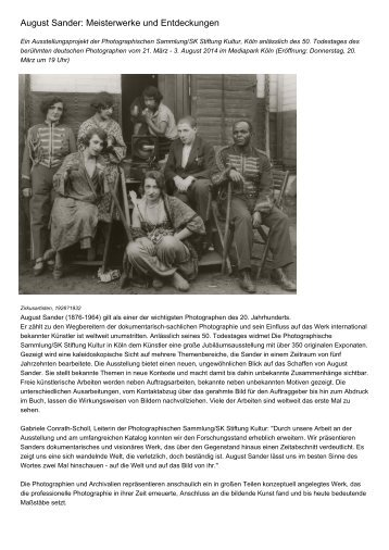 August Sander: Meisterwerke und Entdeckungen
