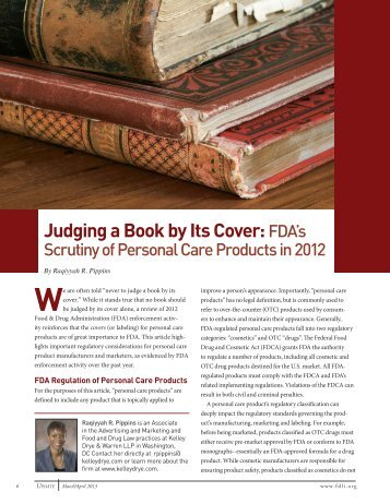 Judging a Book by Its Cover: FDA's Scrutiny of ... - Kelley Drye