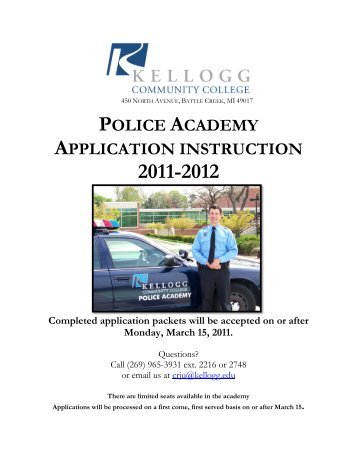 police academy application instruction - Kellogg Community College