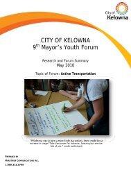CITY OF KELOWNA 9 Mayor's Youth Forum