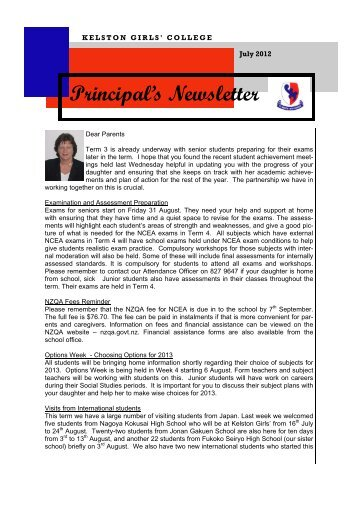 Principal's Newsletter - Kelston Girls