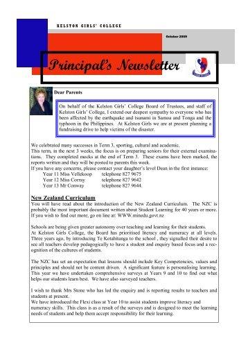 Principal's Newsletter - Kelston Girls' College