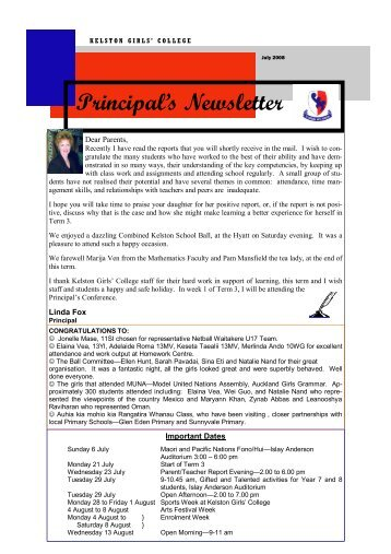 Principal's Newsletter - Kelston Girls