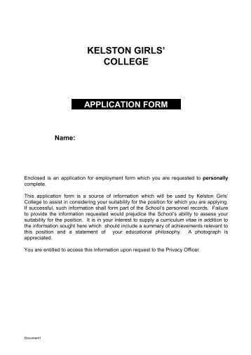 Application Form - Kelston Girls