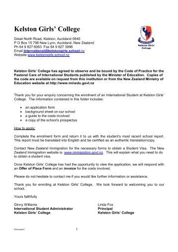 Kelston Girls' College International Student Enrolment Form