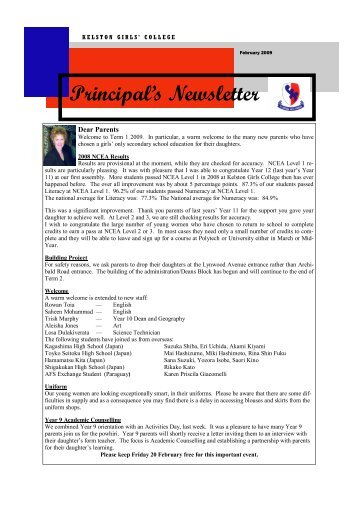 Principal's Newsletter - Kelston Girls' College