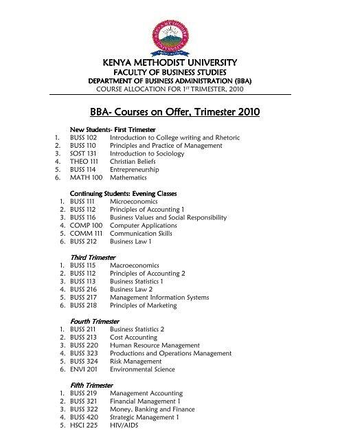 BBA- Courses on Offer, Trimester 20 - Kenya Methodist University
