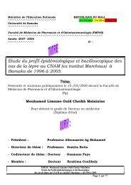 Etude du profil épidémiologique et bacilloscopique des cas de la ...