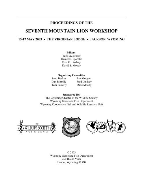 Proceedings of the Seventh Mountain Lion Workshop