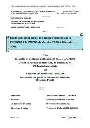 Etude bibliographique des thèses réalisées sur le VIH/SIDA à la ...