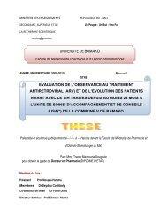 Tableau I: Caractéristiques générales de l'échantillon