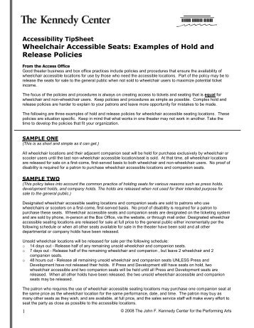 Accessibility TipSheet Wheelchair Accessible Seats - The John F ...
