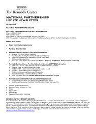 national partnerships update newsletter - The John F. Kennedy ...