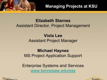 Managing Projects at KSU - Kennesaw State University