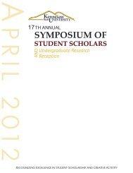 symposium of student scholars - Kennesaw State University