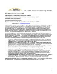 2012 Assurance of Learning Report - Kennesaw State University