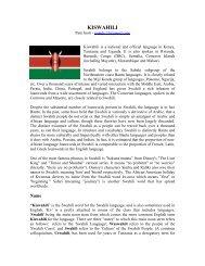 KiSwahili Handout - Kennesaw State University