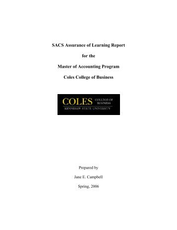 SACS Assurance of Learning Report for the Master of Accounting ...