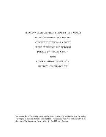 Mary Garner Oral History - Kennesaw State University