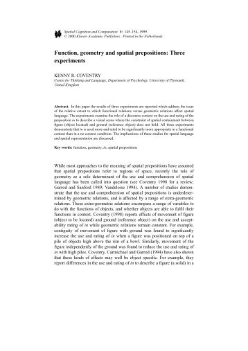 Function, geometry and spatial prepositions ... - Kenny Coventry