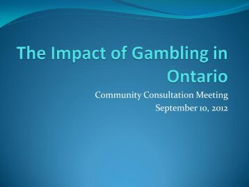 The Impact of Gambling in Ontario - Kenora.ca