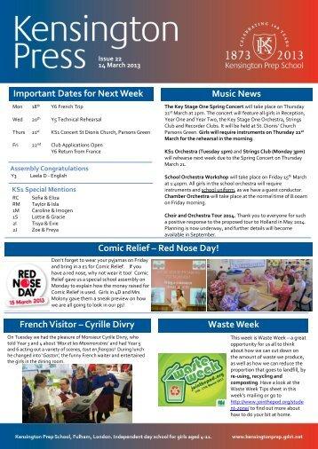 Important Dates for Next Week - Kensington Prep School - The Girls ...