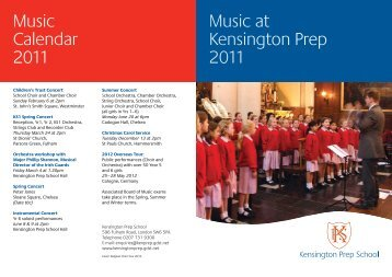 Music at Kensington Prep 2011 Music Calendar 2011