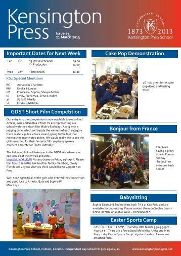 Important Dates for Next Week Cake Pop ... - Kensington Prep