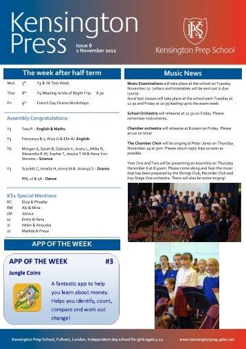 The week after half term Music News APP OF ... - Kensington Prep