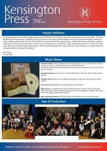 Happy Holidays Music News Year 6 Production - Kensington Prep ...