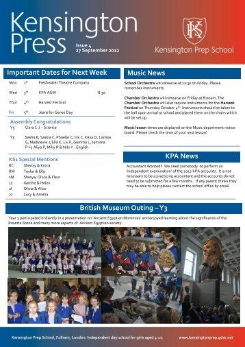 Important Dates for Next Week Music News KPA ... - Kensington Prep