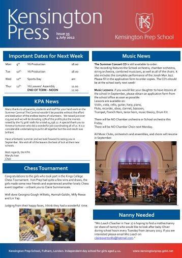 Important Dates for Next Week Music News ... - Kensington Prep