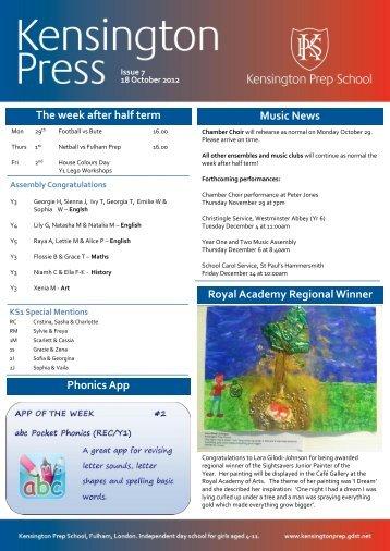 The week after half term Music News Royal ... - Kensington Prep