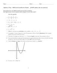 Honors Algebra II Midterm Review Answer Key - Chapter P P 2