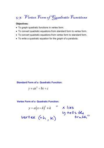 5-3: Vertex Form of Quadratic Functions