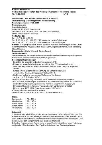 19.06.2011 LP, S Veranstalter : RZV K - Kent-online.de