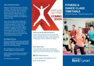 FITNESS & DANCE CLASS TIMETABLE