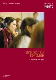 SCHOOL OF ENGLISH - University of Kent