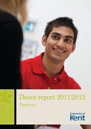 Donor report 2011/2012 - University of Kent