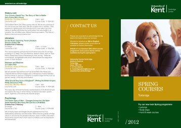 SPRING COURSES 2012 - University of Kent