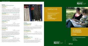 summer courses 2012 - University of Kent