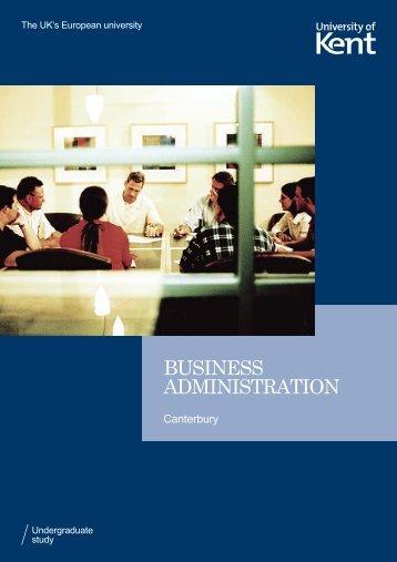BUSINESS ADMINISTRATION - University of Kent